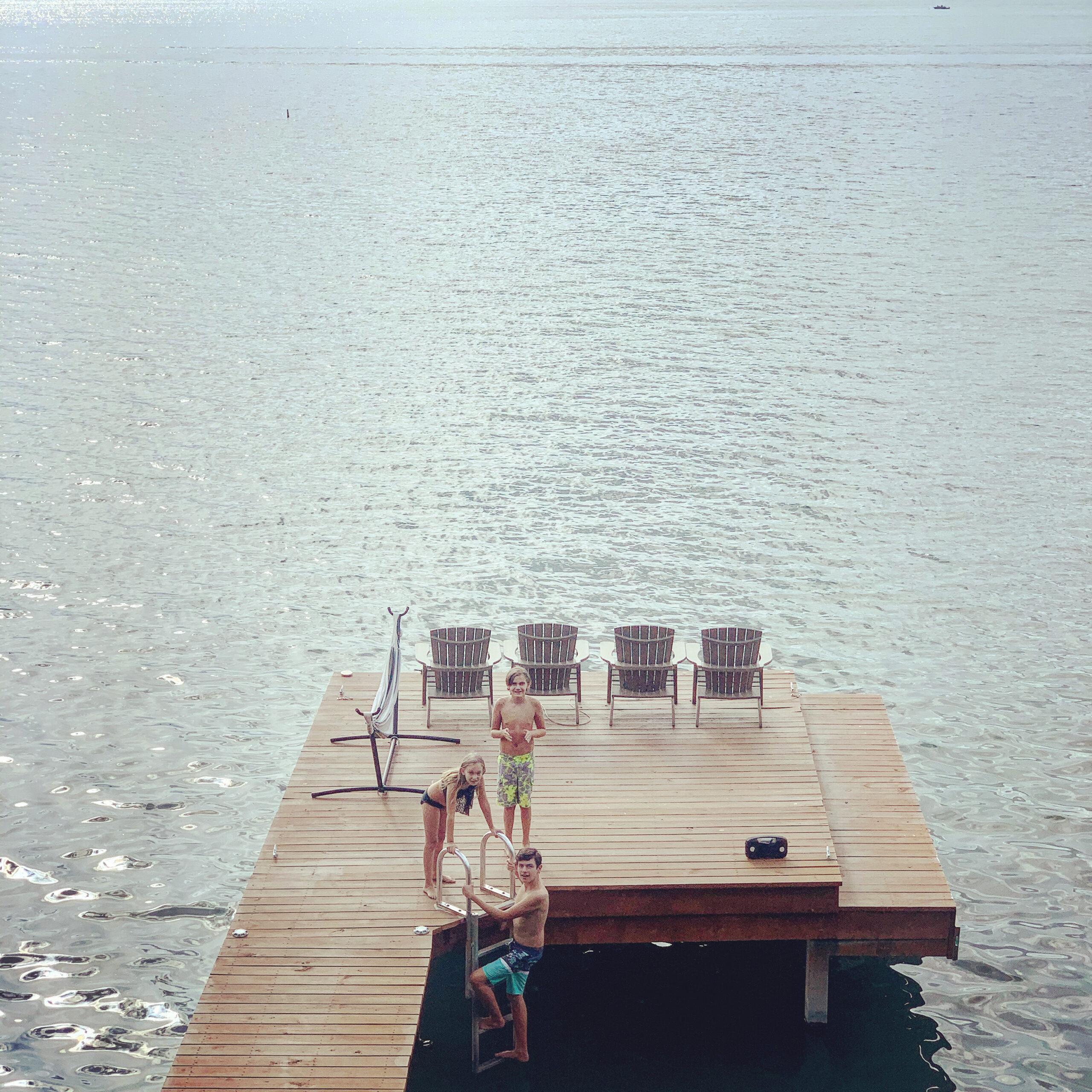 Kids on the dock at Seneca Lake