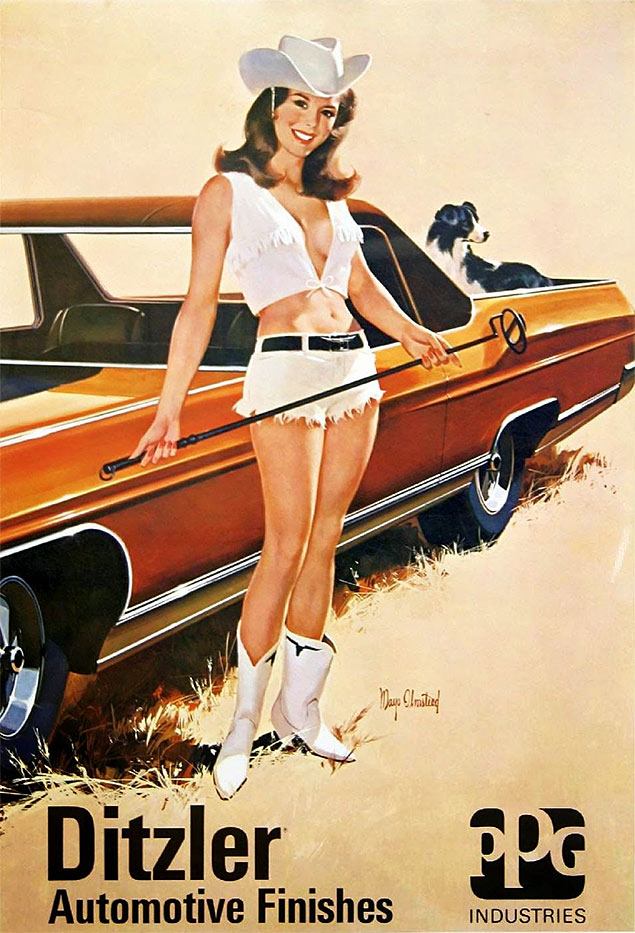 ditzler pin up vintage girl car golf