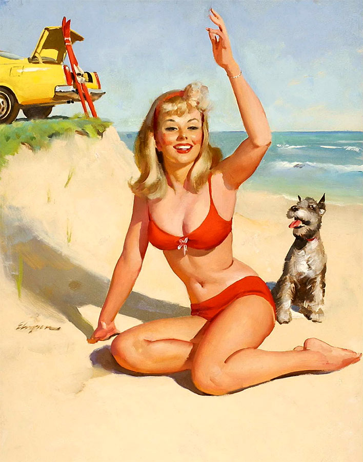 elvgren car girl pin up beach