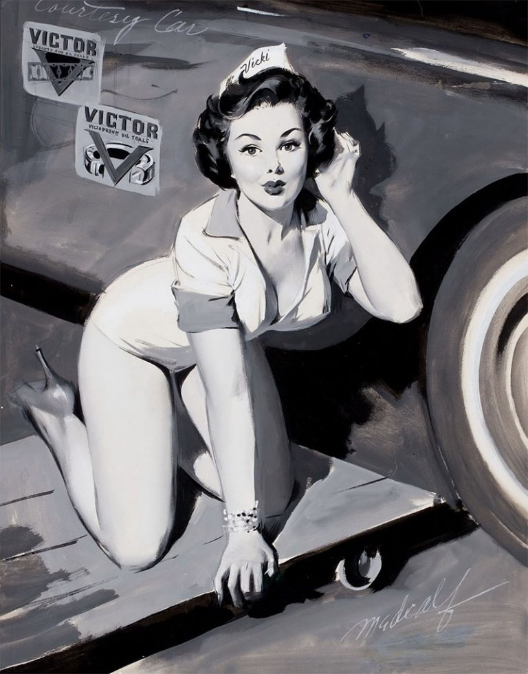 retro pin up 40s car mechanic