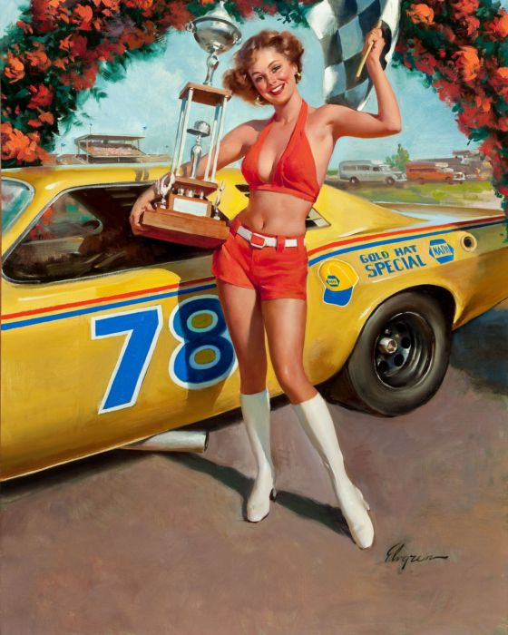 vintage pin up car gir