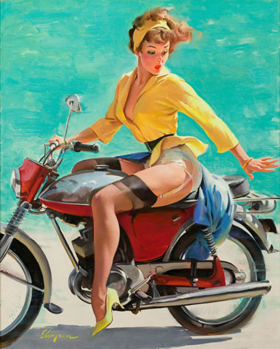vintage pin up motorcycle girl