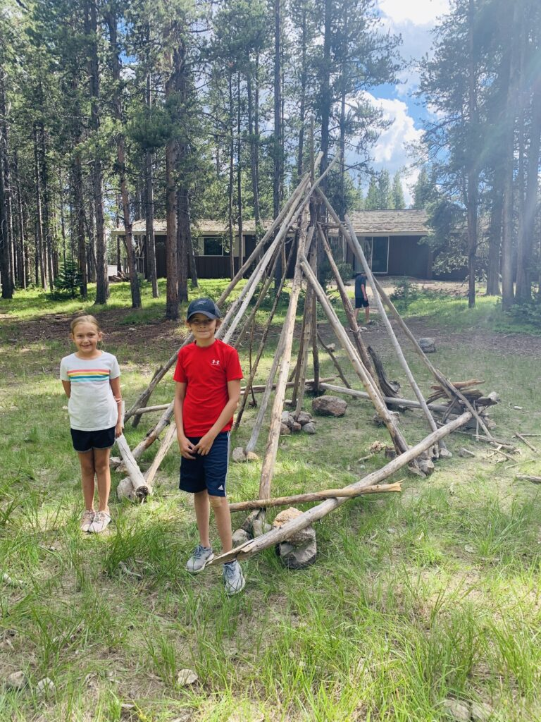 Kids with homemade teepee at Canyon Village