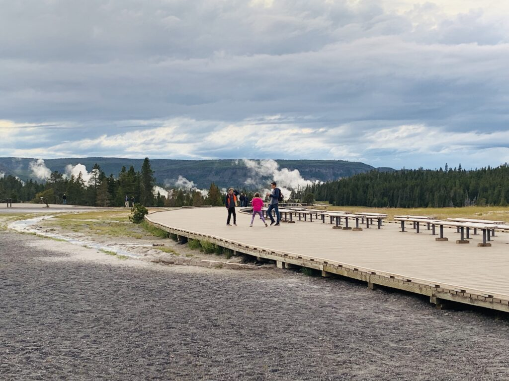 Empty benches at Old Faithful