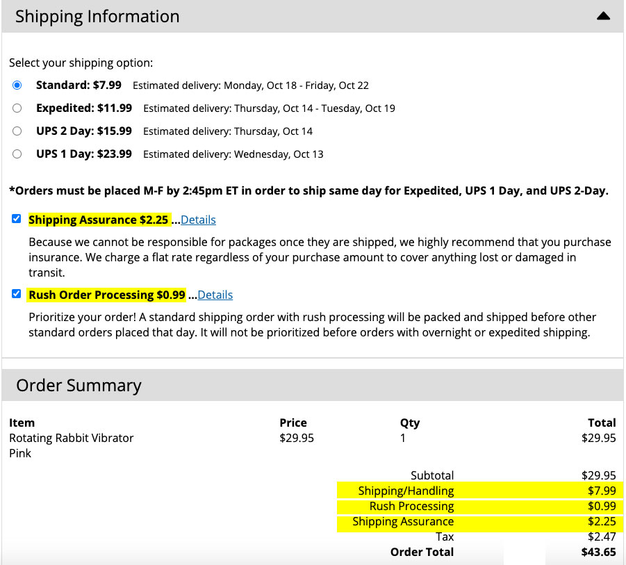 adam eve shipping time cost