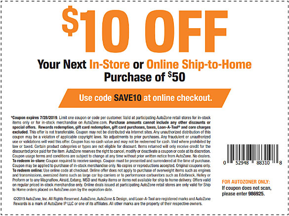 7 AutoZone Coupons, Promo Codes ($10 Off $50 Now!) • Aug  2019