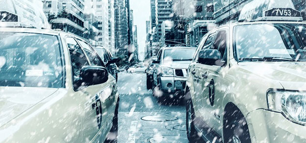 harsh weather cars city