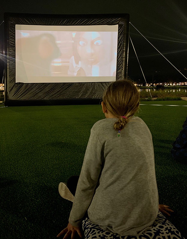 Watching the outdoor movie at the Riviera Resort