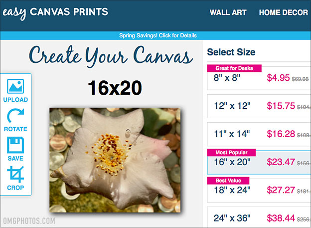 easy canvas prints prices