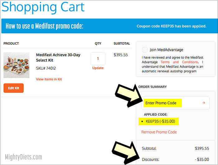 where to enter medifast promo code
