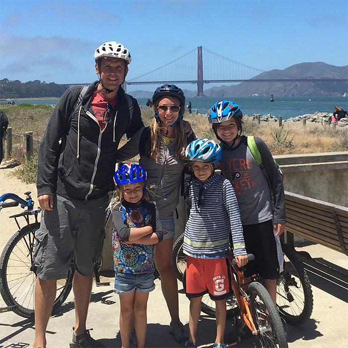 our family on bikes golden gate bridge