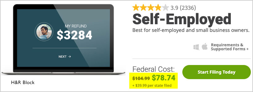 h&r block self employed cost