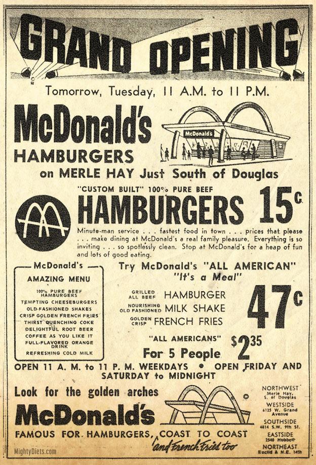 mcdonalds menu 1950s