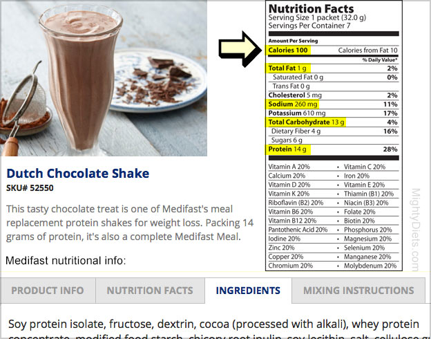 medifast food nutritional info
