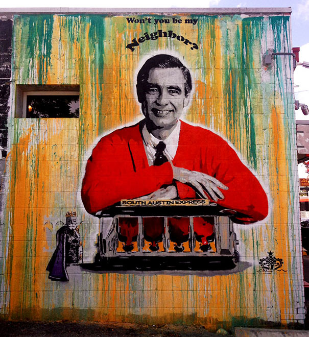 mr rogers mural wall art austin