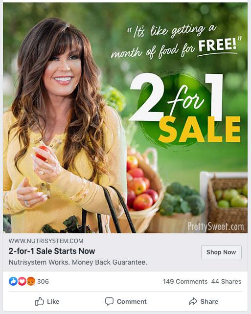 nutrisystem 2 for 1 sale on facebook
