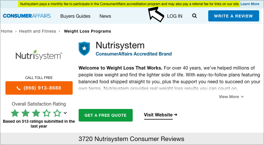 nutrisystem review consumer affairs