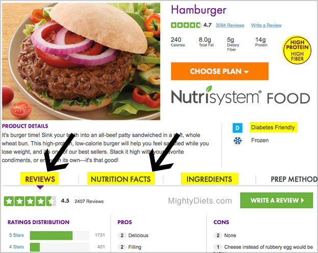 nutrisystem food nutrition info