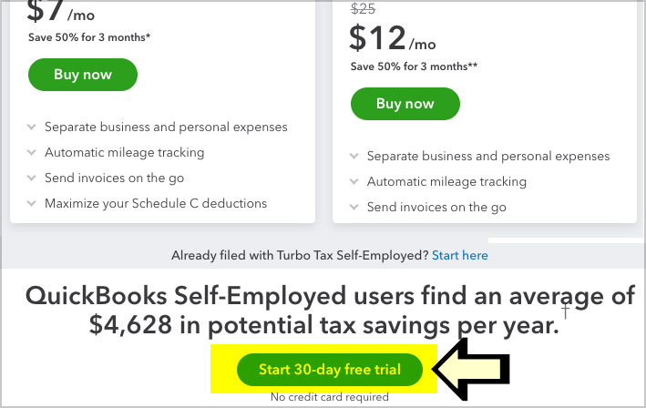 quickbooks self employed free trial link