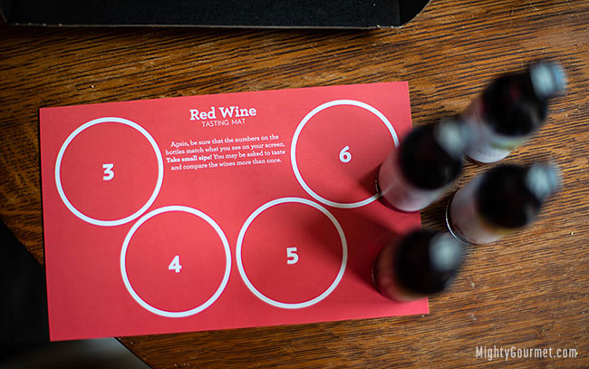 red wine tasting mat