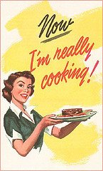 retro cooking woman