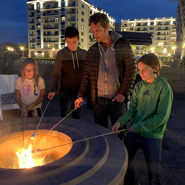Roasting marshmallows at the Riviera Resort