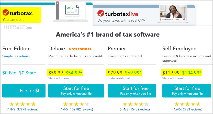 Download Turbotax 2020 Home And Business.How Much Does Turbotax Cost New Prices State Fee