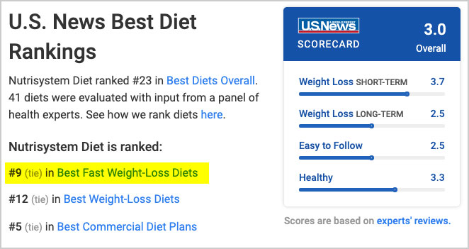 u.s. news nutrisystem review and rating