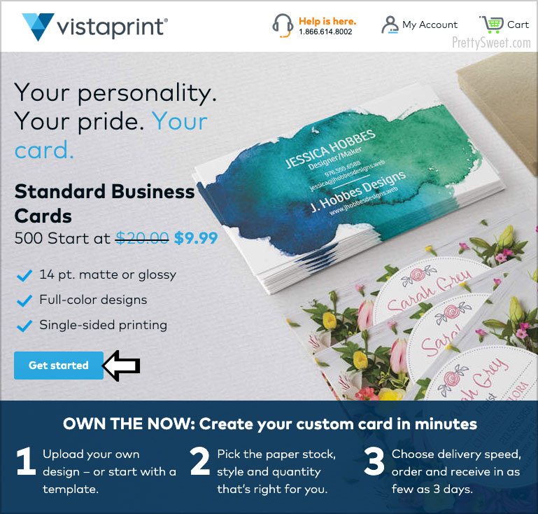 vistaprint 500 business cards for $9.99