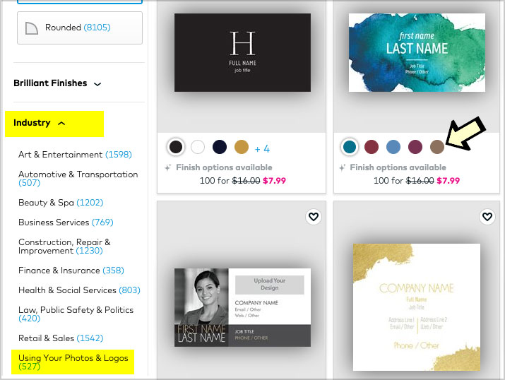 vistaprint business card template options