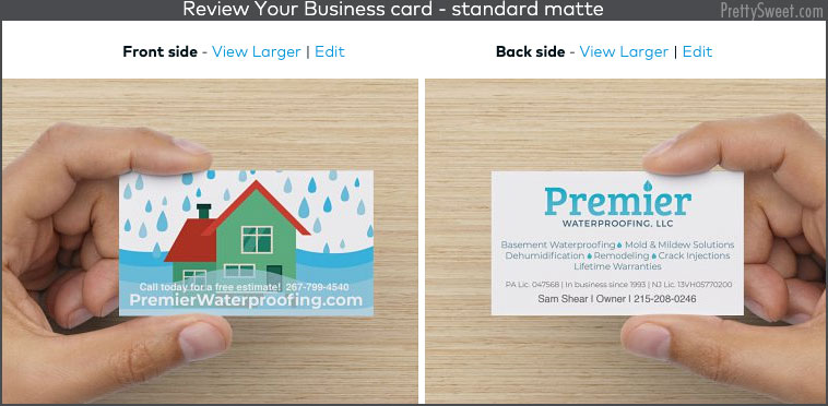 vistaprint preview business cards