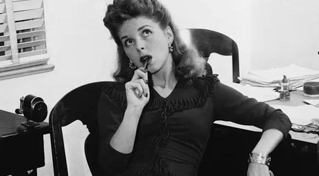 woman pensive retro