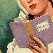 woman recipe book