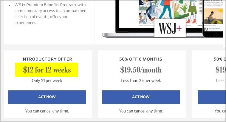 wsj dollar per week deal