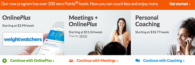 compare weight watchers plans