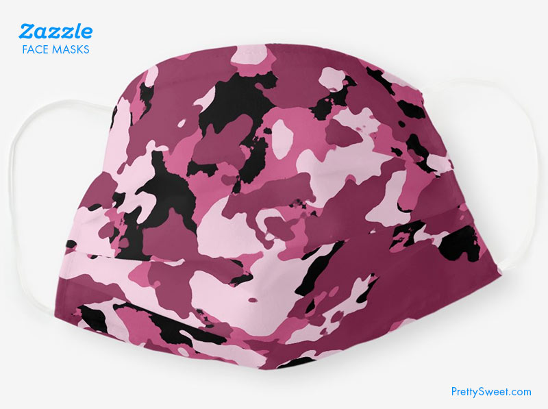 zazzle mask pink camouflage design